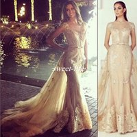 Wholesale Lace Over Keyhole - Zuhair Murad Gold Evening Dresses Over Skirts Lace Illusion Short Sleeve Sash Tulle 2016 Mermaid Vintage Formal Celebrity Dresses Prom Gowns