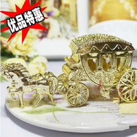 Wholesale Clear Plastic Favor Bags - European Styles Romantic Wedding Candy Chocolate Boxes Carriage Candy Bags Wedding gift Holder Favor Gold silver clear color free shipping