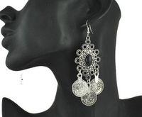 joyería bohemia turca gitana al por mayor-Pendientes de monedas turcas de plata retro diseño floral Boho Gypsy Beachy tribales Festival de joyas de Turquía Pendientes de Bohemia