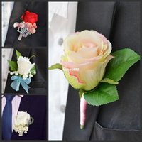 Wholesale Wedding Corsage Man - 4 pcs  lot Hand Made Corsage Groom groomsman silk rose flower Wedding Man Boutonnieres accessories decoration