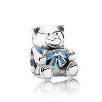 "Wholesale Teddy Bears Order - Wholesale-PS820 European 925 Sterling Silver bead ""BABY BOY TEDDY BEAR"", Minimum order limited is US$15"