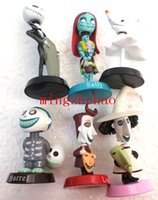 Comerci 10 insiemi 6pcs The Nightmare Before Christmas Henry Selick Argilla animazione Jack di Sally Shock Zero testa knock / Bobble Head Figure Giocattoli