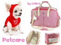 Gros-Free navire rouge ruban couleur coton vichy Chiens Pet Carrier Bag Dogs Fashion Bag