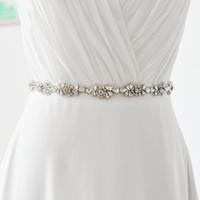 Wholesale Cheap Designer Beaded Wedding Dresses - S235 NEW Arrival Fashionabl Bridal Sash Rhinestone Diamond Beaded Wedding Dresses Belt 14 colors to choose Designer Belts Cheap