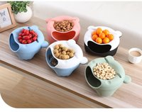 Wholesale Dry Snacks - Fruit Bowl Plastic Double Layered Dry Fruit Candy Snack Storage Box Plate Dish Tray With Mobile Phone Stents