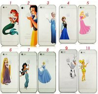 Wholesale Iphone Hold Case - For iPhone 4 4S 5 5S 5C 6 6 plus Princess Snow White Frozen Elsa Olaf Ariel Tinkerbell Little Mermaid Ariel Holding Logo Clear crystal case