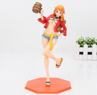 Wholesale One Piece Cosplay Nami - 22cm One Piece P.O.P Nami Dressed in Luffy Outfit with Casks Girl PVC Action Figure Resin Model Toy Gifts Cosplay Figure