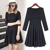 Wholesale Dresses For Chubby - 2015 Winter Spring black short long sleeve slim dresses for chubby girl mother daughter clothing high quality pleated Tunics
