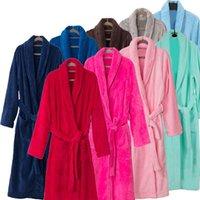 Wholesale Spa Dressing Gown - New Arrival Men Women Luxury Silk Flannel Winter Spa Bathrobe Mens Long Kimono Bath Robe Male Bathrobes Warm Night Dressing Gown