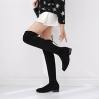 Wholesale Leather Cowboy Boot Straps - 2017 New Winter Sw5050 Strap Flat Knee Boots Shoes Thigh Long Boots Female Leather Boots Son Sneakers for Womens