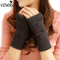 Wholesale Long Fingerless Gloves Girls - Wholesale- Brand New Solid Color Long Gloves for Women Winter Knitted Fingerless Mittens Female Girls Invernali Donna Guantes Mujer