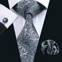 Wholesale tie hanky clips - Black Paisley Mens Ties Silk Tie Clips Hanky Cufflinks Set Jacquard Woven Business Fashion Accessories Neck Tie Set Formal N-0209