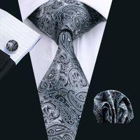 Wholesale Tie Hanky Clips - Black Paisley Mens Ties Silk Tie Clips Hanky Cufflinks Set Jacquard Woven Business Fashion Accessories Neck Tie Set Formal N-0209
