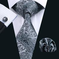 herren schwarze manschettenknöpfe großhandel-Schwarz Paisley Herren Krawatten Seidenkrawatte Clips Hanky Manschettenknöpfe Set Jacquard Woven Business Mode Accessoires Krawatte Set Formal N-0209