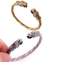 Argento antico o oro-colore Dragon Viking BraccialiBangle Carter Amore Bracciale Accessori Pagan Jewelery