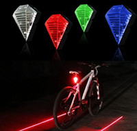 Wholesale New Bicycle Cycling Laser Tail - New arrival Dazzling Bike Bicycle Cycling 8 LED 2 Laser Beam Tail Light Safety Rear Warning diamond Rechargeable Lithium Battery