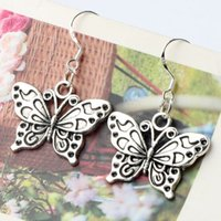 Wholesale White Butterflies Wholesale - 925 Silver Fish Ear Hook Antique Silver White Peacock Butterfly Earrings Chandelier 30pairs lot 37X25mm E1128