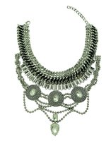 Wholesale European Bead Choker - European Style Wide Chain Carving Coin Beads Snake Chain Crystal Ethnic Statement Necklace Costume Jewelry