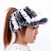 Wholesale Duck Grass - Wholesale-2015 new 100% natural leather fur fashion hat grass in autumn and winter warm wool woven empty top female ducks