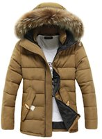 Wholesale Fall Color Trends - Fall-New 2017 Mens Jackets And Coats Thick Fur Collar Winter Coat Men Trend Hooded Parka Size M-3XL