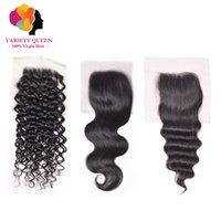 Wholesale Discount Remy Hair Mix - Buy 2 Get 3 Cheap 4*4 Human Hair Closure Ear To Ear Lace Frontal Hairline Raw Virgin Remy Brazilian Human Hair Extensions Discount Price