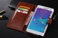 Wholesale Deluxe Leather Wallet - Deluxe Flip Leather Case For Samsung Galaxy Note Edge N9150 Vintage Wallet Card Slots Holder Cover For Galaxy Note Edge Coque