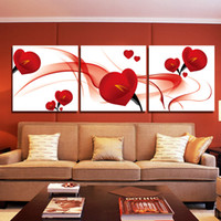 Wholesale Canvas Fashion Picture - Fashion Red Flower 3 Piece Modern Art Wall Painting Home Decoration Art Picture Paint on Canvas Frameless Painting