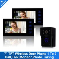 "Wholesale Wireless Home Intercom Doorbell System - 7"" TFT 2.4G Wireless Video Door Phone 2 monitors system Intercom camera with recorder Doorbell Home Security Camera Monitor"