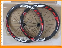 Wholesale Carbon Wheels Ffwd - Fast Forward FFWD Carbon Wheels Red Written Clincher 50mm 700C Wheelset Glossy 3k ud ceramic bearing
