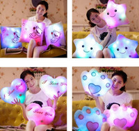 Wholesale yellow star pillow resale online - 40cm plush toys Decorative color Flashing LED Light Plush Smiling Star Face Cushion Pillow Bolster Christmas
