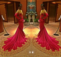 abendkleider nigeria großhandel-Gold Applique 2019 muslimischen Langarm High Neck Prom formale Party Kleider Plus Size Nigeria Sweep Zug Anlass Abendkleid