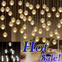 Wholesale Rain Ceiling Lights - LED Crystal Glass Ball Pendant Lamp G4 Meteor Rain Droplight Ceiling Light Meteoric Shower Stair Bar Droplight Lights Chandeliers Lighting