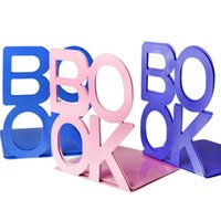 Wholesale Wholesale English Books - Creative Metal Book End Durable Heavy Duty English Letter Bookshelf Hollow Out Design Bookend Holder For Students 8 6ly B