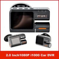 Wholesale Dashboard Camera Mirror - Dual Lens Camcorder i1000 Dual Camera Car DVR HD 1080P Dash Cam Black Box With Rear 2 Cam Vehicle View Dashboard Cameras Free Shipping