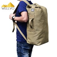 Wholesale Large Military Style Backpacks - Men Lage Travel Bag Army Bucket Backpack Multifunctional Military Canvas Backpacks Large Shoulder Bags Casual Back Pack 1934C
