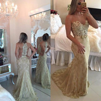 Wholesale Slimming Arabic Dress - 2016 Arabic Full Lace Applique Sleeveless Mermaid Prom Dresses Champagne Sheer Slim Fitted Evening Dresses Formal Evening Gowns BA1942
