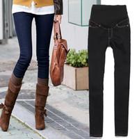 Wholesale Pregnant Women Trousers - Wholesale-Hot New Trendy Pregnant Women Elastic Jeans Pencil Pants Maternity Trousers US8 10 12 14