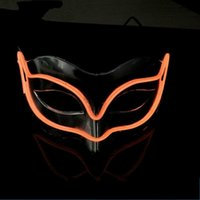 Wholesale Fox Films - EL Wire Glowing Mask Plastic Half Face LED Up Light Fox Masks Safe Non Febrile Halloween Props Gift 18yh B