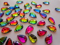 Wholesale Drops Sew Stones - Wholesale multicolour crystal sew on flatback stones water drop shape 8*13mm rhinestones gem stones strass 50pcs lot