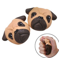 Wholesale dog sweets - Squishy Dog Face Squeeze Slow Rising Gift Sweet Cream Scented Pendant Kawaii Squishy Dog Face Bread Squishy KKA3516
