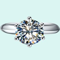 Classic 1CT Brand SONA Synthetic Diamond Ring Engagement 925 Sterling Silver Jewelry 18K Platinum banhado a ouro para mulheres
