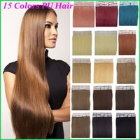 Wholesale Taped Weft Weaving Hair - Peruvian Remy Skin Weft Human Hair Extensions,16-26'' 50g-lot Silky Straight Tape In PU Hair Pieces,Seamless PU Tape On Hair Weaves 20pcs