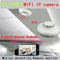 Wholesale Smoke Detectors Hidden Wireless Camera - HD1080p smoke detector camera wifi camcorder wireless Security Hidden mini dvr Remote monitor for iPhone Android p2p 720p IP video record