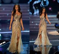 kat uzunluğu elbise kırmızı halı toptan satış-Ünlü Kırmızı Halı Elbiseleri Vestido Miss Universo Şampanya Ön Bölünmüş Boncuklu Dantel Kat Uzunluk Seksi Pageant Abiye giyim Gelinlik Modelleri