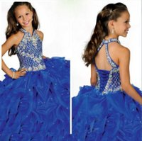 Wholesale Cheap Pageant Dresses For Teens - Vintage Royal Blue Flower Girls Dresses For Weddings With Rhinestones Beaded High Neck Ruffles Teens Pageant Ball Gowns In Stock Cheap