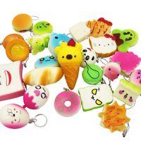 Wholesale Mix Toys - Squishy Simulation Bread 30pcs Random Mix PU Cute Lovely Cartoon Pendant Kawaii Food Squishy Super Kid Toy Decompression Toys