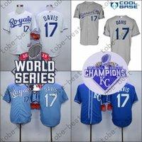 Wholesale Royal Blue Baseball Uniforms - Wade Davis Jersey Home Away KC Baby blue Kansas City Royals Uniforms