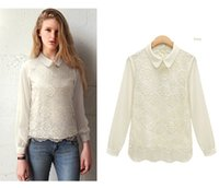 Wholesale Peter Pan Collar Chiffon Top - Organza lace chiffon long-sleeve shirt loose peter pan collar female top RE019