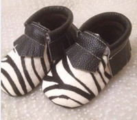 Wholesale Wholesale Horsehair - New horsehair zebra-stripe fringe moccasins shoes, baby moccs prewalker,toddlers infants cow leather tassel zebra moccasin shoes