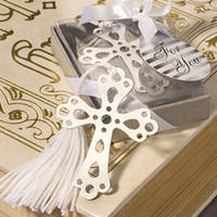 Wholesale Metal Bookmarks Cross - Wholesale Lots 30pcs Gift Box + Silver Metal Charm Cross Hollow Bookmark with tassel For Books wedding favors gifts